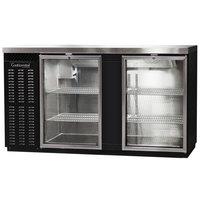 Continental Refrigerator BBC69S-GD 69 inch Black Shallow Depth Glass Door Back Bar Refrigerator