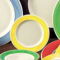 CAC R-3-Y Rainbow 12 oz. Yellow Rolled Stoneware Edge Pasta / Soup Bowl - 24/Case