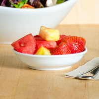 Tuxton FPD-041 Pacifica 3.25 oz. Bright White Embossed China Fruit Bowl / Monkey Dish - 36/Case