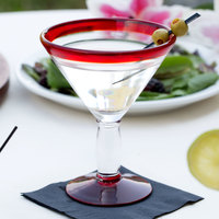 Libbey 92305R Aruba 10 oz. Martini Glass with Red Rim and Base - 12/Case