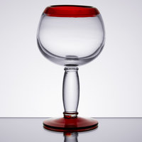 Libbey 92309R Aruba 16 oz. Round Cocktail Glass with Red Rim and Base - 12/Case