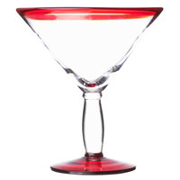 Libbey 92307R Aruba 24 oz. Martini Glass with Red Rim and Base - 12/Case