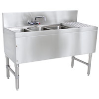 Advance Tabco PRB-19-43L 3 Compartment Prestige Series Underbar Sink with (1) 11 inch Drainboard and Splash Mount Faucet - 20 inch x 48 inch (Left Side Sink)