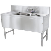 Advance Tabco PRB-19-43R 3 Compartment Prestige Series Underbar Sink with (1) 11 inch Drainboard and Splash Mount Faucet - 20 inch x 48 inch (Right Side Sink)