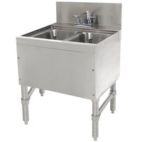 Advance Tabco PRB-24-22C 2 Compartment Prestige Series Underbar Sink with Deck Mount Faucet - 25 inch x 24 inch