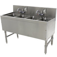 Advance Tabco PRB-19-44C 4 Compartment Prestige Series Underbar Sink with (2) Splash Mount Faucets - 20 inch x 48 inch