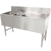 Advance Tabco PRB-24-53L 3 Compartment Prestige Series Underbar Sink with (1) 23 inch Drainboard and Deck Mount Faucet - 25 inch x 60 inch