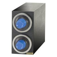 San Jamar C2902 EZ-Fit Black 2-Slot 8 - 46 oz. Cup Dispenser Cabinet with Metal Finish Trim Ring