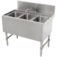 Advance Tabco PRB-24-33C 3 Compartment Prestige Series Underbar Sink with Deck Mount Faucet - 25 inch x 36 inch