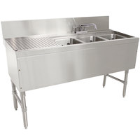 Advance Tabco PRB-24-53R 3 Compartment Prestige Series Underbar Sink with (1) 23 inch Drainboard and Deck Mount Faucet - 25 inch x 60 inch (Right Side Sink)