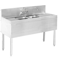 Advance Tabco PRB-24-42C 2 Compartment Prestige Series Underbar Sink with (2) 12 inch Drainboards and Deck Mount Faucet - 25 inch x 48 inch