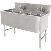 Advance Tabco PRB-24-44C 4 Compartment Prestige Series Underbar Sink with (2) Deck Mount Faucets - 25 inch x 48 inch