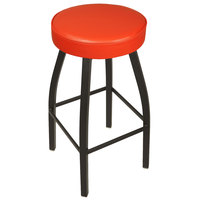 BFM Seating 2520BRDV-SB Kyle Sand Black Metal Barstool with Padded Red Vinyl Swivel Seat