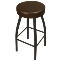 BFM Seating 2520BDBV-SB Kyle Sand Black Metal Barstool with Padded Dark Brown Vinyl Swivel Seat