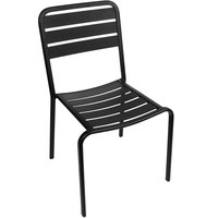 BFM Seating DV452BL Vista Outdoor / Indoor Stackable Black Aluminum Side Chair