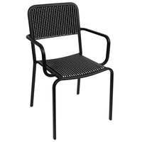 BFM Seating DV353BWBL Rio Outdoor / Indoor Stackable Synthetic Wicker Arm Chair