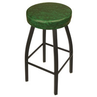 BFM Seating 2520BGNV-SB Kyle Sand Black Metal Barstool with Padded Green Vinyl Swivel Seat