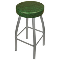 BFM Seating 2520BGNV-SV Kyle Silver Metal Barstool with Padded Green Vinyl Swivel Seat