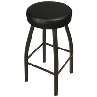 BFM Seating 2520BBLV-SB Kyle Sand Black Metal Barstool with Padded Black Vinyl Swivel Seat