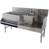 Advance Tabco PRU-24-60L-10 Prestige Series Stainless Steel Uni-Serv Speed Bar with 10-Circuit Cold Plate - 60 inch x 30 inch (Left Side Ice Bin)