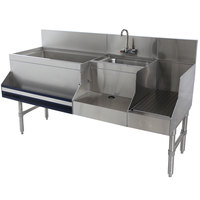 Advance Tabco PRU-19-60L-10 Prestige Series Stainless Steel Uni-Serv Speed Bar with 10-Circuit Cold Plate - 60 inch x 25 inch (Left Side Ice Bin)