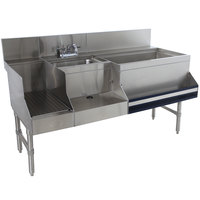 Advance Tabco PRU-24-60R-10 Prestige Series Stainless Steel Uni-Serv Speed Bar with 10-Circuit Cold Plate - 60 inch x 30 inch (Right Side Ice Bin)