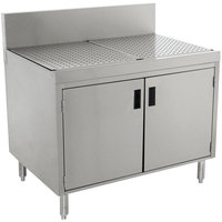 Advance Tabco PRSCD-19-42 Prestige Series Enclosed Stainless Steel Drainboard Cabinet with Doors - 42 inch x 25 inch