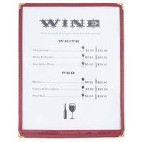 8 1/2 inch x 11 inch Single Pocket Menu Cover - Burgundy