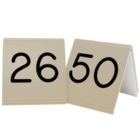 Cal-Mil 269B-11 Gold Engraved Number Tent Sign Set 26-50 - 3 inch x 3 inch
