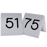 Cal-Mil 269C-10 Silver Engraved Number Tent Sign Set 51-75 - 3 inch x 3 inch
