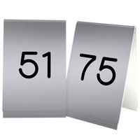 Cal-Mil 271C-10 Silver Engraved Number Tent Sign Set 51-75 - 3 1/2 inch x 5 inch