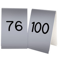 Cal-Mil 271D-10 Silver Engraved Number Tent Sign Set 76-100 - 3 1/2 inch x 5 inch
