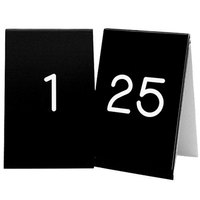 Cal-Mil 271A-2 Black Engraved Number Tent Sign Set 1-25 - 3 1/2 inch x 5 inch