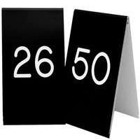 Cal-Mil 271B-2 Black Engraved Number Tent Sign Set 26-50 - 3 1/2 inch x 5 inch