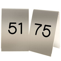 Cal-Mil 271C-11 Gold Engraved Number Tent Sign Set 51-75 - 3 1/2 inch x 5 inch
