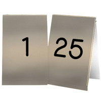Cal-Mil 271A-11 Gold Engraved Number Tent Sign Set 1-25 - 3 1/2 inch x 5 inch