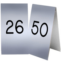 Cal-Mil 271B-10 Silver Engraved Number Tent Sign Set 26-50 - 3 1/2 inch x 5 inch