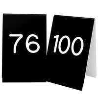 Cal-Mil 271D-2 Black Engraved Number Tent Sign Set 76-100 - 3 1/2 inch x 5 inch
