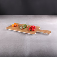 Elite Global Solutions M127RC Fo Bwa Rectangular Faux Bamboo Serving Board with Handle - 12 inch x 7 inch