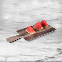 Elite Global Solutions M127RC Fo Bwa Rectangular Faux Hickory Wood Serving Board with Handle - 12 inch x 7 inch