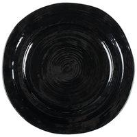 Elite Global Solutions D750 Della Terra 7 1/2 inch Black Irregular Round Melamine Plate - 6/Case