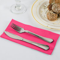 Hot Magenta Pink Paper Dinner Napkins, 2-Ply 1/8 Fold - Creative Converting 67177B - 600/Case