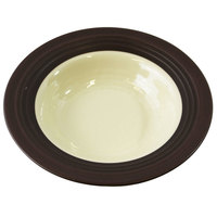 Elite Global Solutions DB82GM Durango 16 oz. Antique White & Chocolate Round Two-Tone Melamine Bowl - 6/Case
