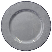 Elite Global Solutions D850M Mojave Vintage California 8 1/2 inch Gray Round Crackle Melamine Plate - 6/Case