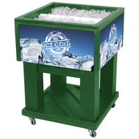 Green Mini Texas Icer 5015 Insulated Ice Bin / Merchandiser 32 Qt. with Dividers and Drain 23 1/4 inch x 23 1/4 inch