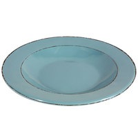 Elite Global Solutions DB878T Trestles Vintage California 12 oz. Cameo Blue Round Double-Line Pasta / Soup Bowl - 6/Case