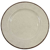 Elite Global Solutions D1025M Mojave Vintage California 10 1/2 inch Vanilla Round Crackle Melamine Plate - 6/Case