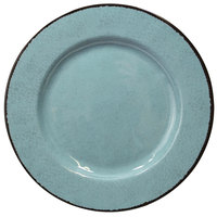 Elite Global Solutions D1025M Mojave Vintage California 10 1/2 inch Cameo Blue Round Crackle Melamine Plate - 6/Case