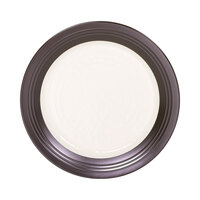 Elite Global Solutions D1098GM Durango 11 inch Antique White & Chocolate Round Two-Tone Melamine Plate - 6/Case