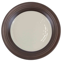 Elite Global Solutions D1098GM Durango 11 inch Antique White & Chocolate Round Two-Tone Melamine Plate